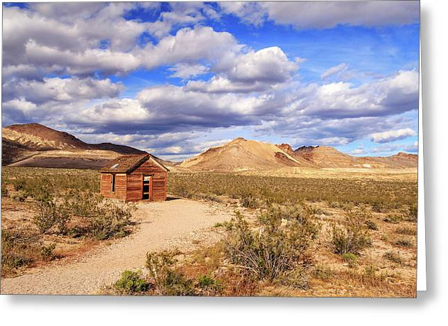 Greeting Card featuring the photograph Old Cabin At Rhyolite by James Eddy