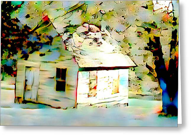 Old Cabin In Snow Greeting Card