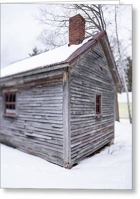 Greeting Card featuring the photograph Old Cabin In The Snow Musterfield Farm North Sutton by Edward Fielding