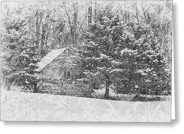Old Cabin In Winter Greeting Card by Maria Dryfhout