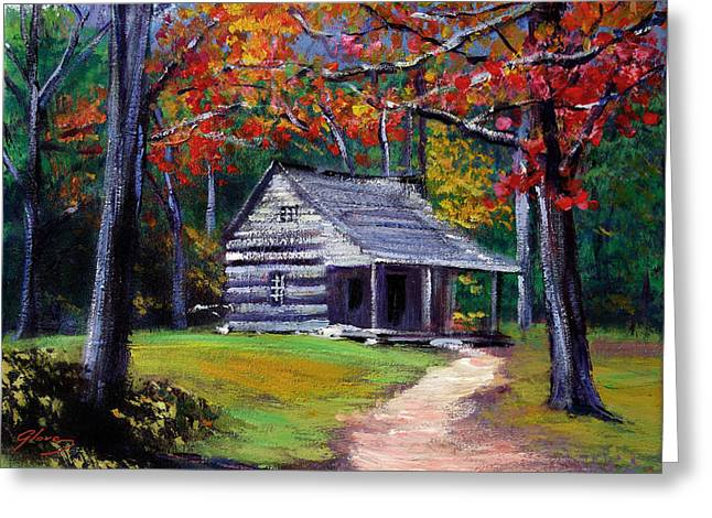 Old Cabin Plein Aire Greeting Card by David Lloyd Glover