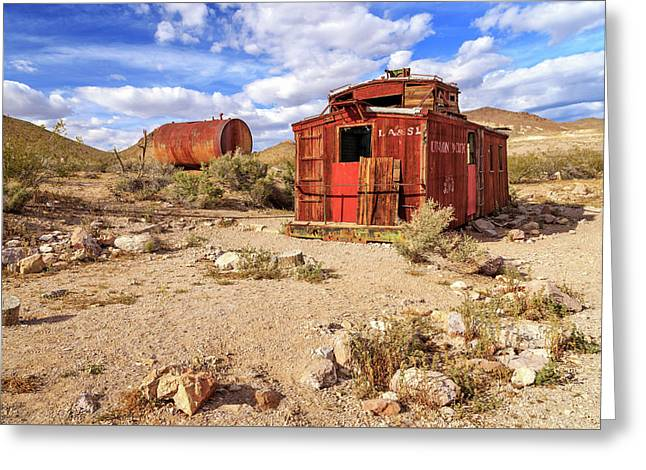 Old Caboose At Rhyolite Greeting Card by James Eddy