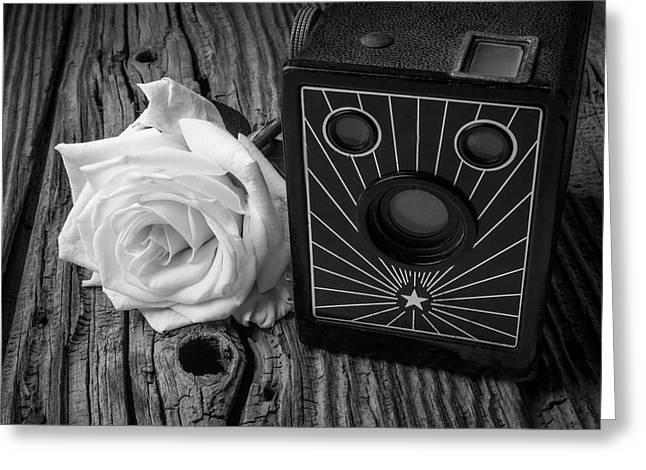 Old Camera And White Rose Greeting Card