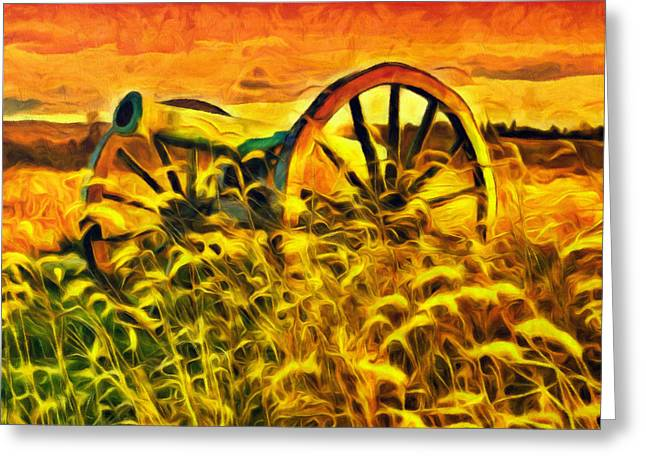 Old Cannon In A Sunset Field Greeting Card