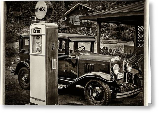 Old Car @ Gas Station Greeting Card