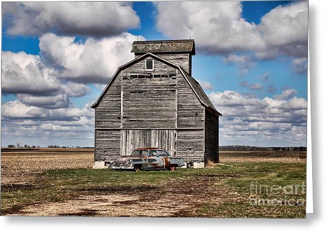 Old Car And Barn Greeting Card by Scott Nelson