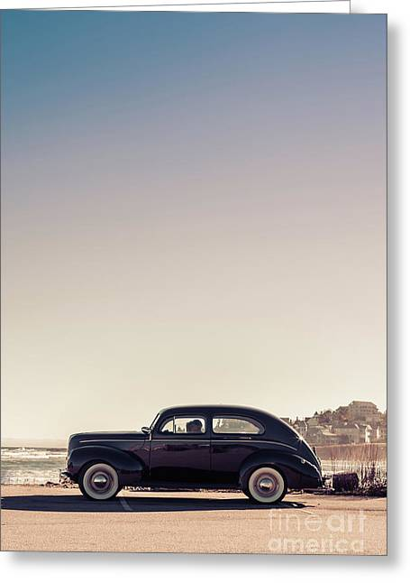 Old Car At The Beach Greeting Card