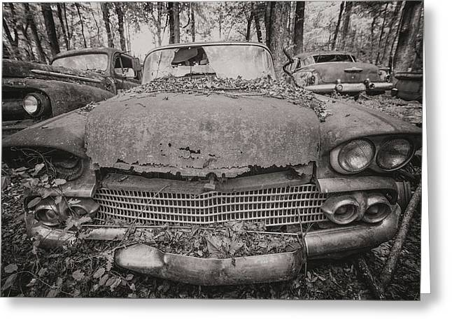 Old Car City In Black And White Greeting Card