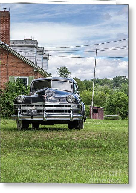 Old Car In Front Of House Greeting Card by Edward Fielding