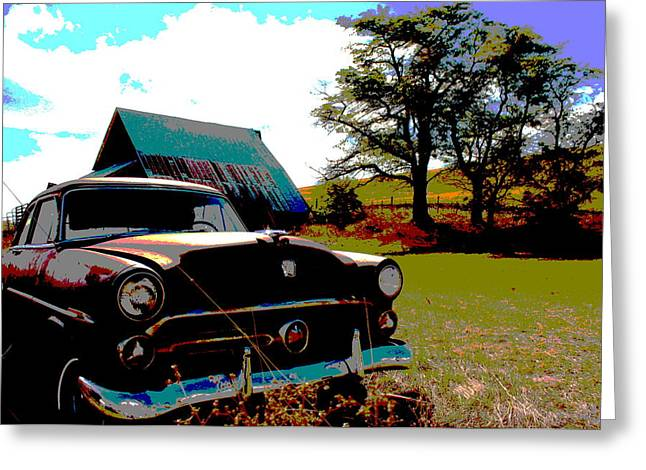 Old Car Greeting Card by Jean Evans