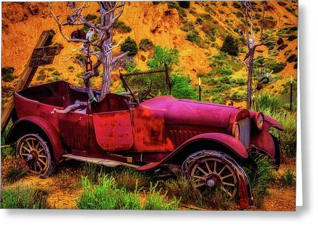 Old Car Rusting Away Greeting Card