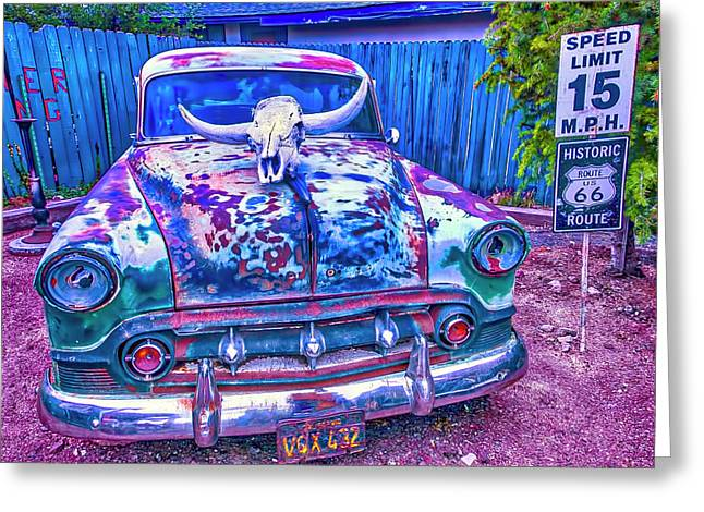 Old Car With Steer Skull Greeting Card by Garry Gay