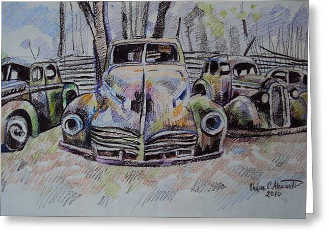 Old Cars Greeting Card by Chifan Catalin  Alexandru