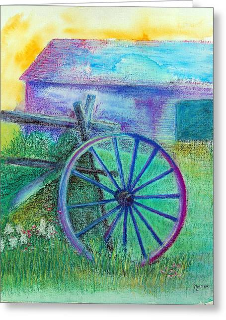 Old Cartwheel At Father Pandosy Mission Greeting Card by Marina Garrison