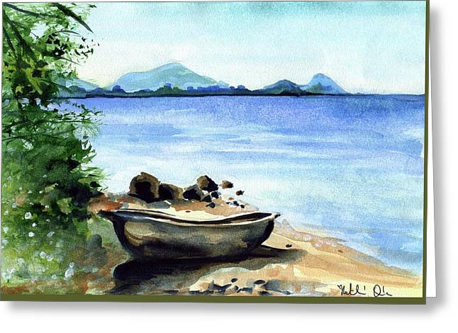 Greeting Card featuring the painting Old Carved Boat At Lake Malawi by Dora Hathazi Mendes