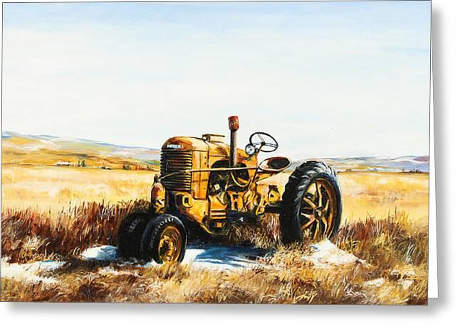 Old Case Tractor Greeting Card by Gary Wynn