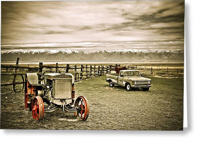 Truck Grill. Fence Greeting Cards - Old Case Tractor Greeting Card by Marilyn Hunt