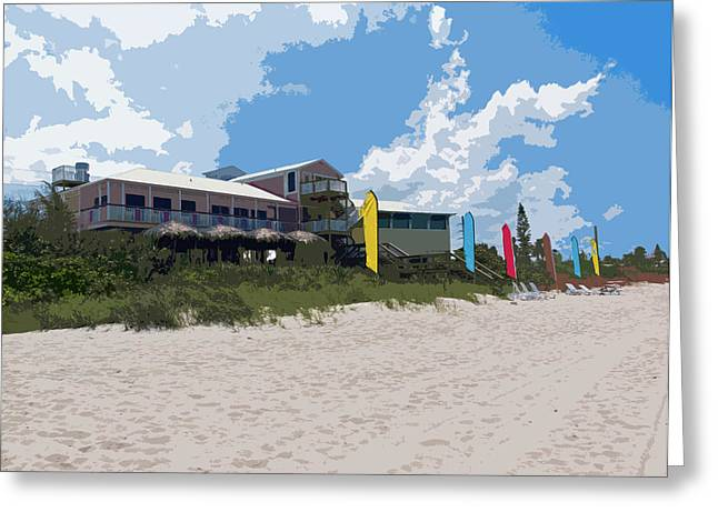 Casino Pier Digital Art Greeting Cards - Old Casino on an Atlantic Ocean Beach in Florida Greeting Card by Allan  Hughes