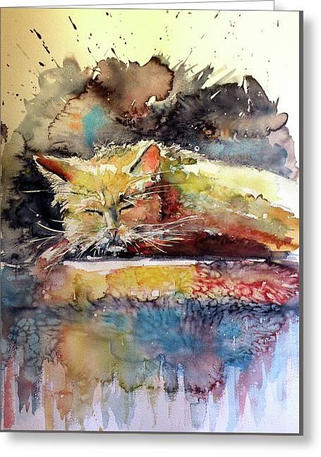 Old Cat Resting Greeting Card by Kovacs Anna Brigitta