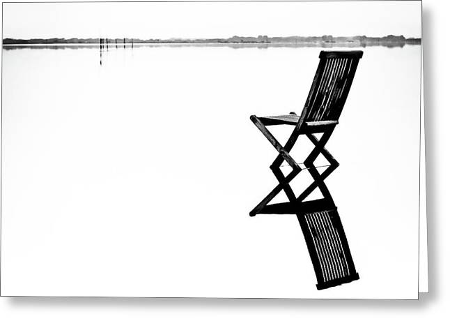 Old Chair In Calm Water Greeting Card