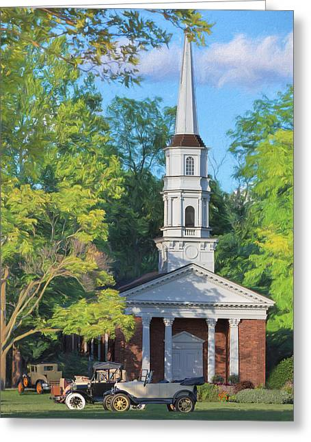 Old Chapel On The Green Greeting Card by Susan Rissi Tregoning