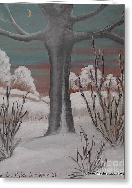 Old Cherry Tree In Winter Greeting Card