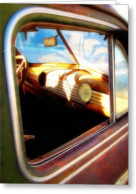Old Chevrolet Dashboard Greeting Card
