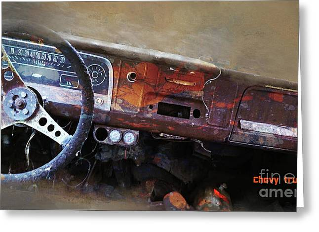Greeting Card featuring the digital art Old Chevy 2016 by Kathryn Strick