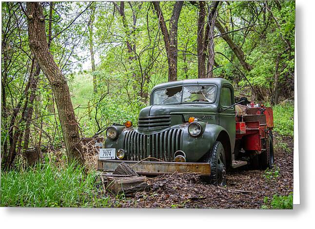 Old Chevy Oil Truck 1  Greeting Card by Chad Rowe