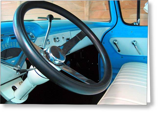 Old Chevy Steering Wheel Greeting Card
