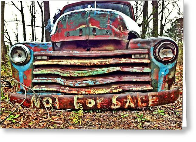 Old Chevy Truck With Graffiti Greeting Card