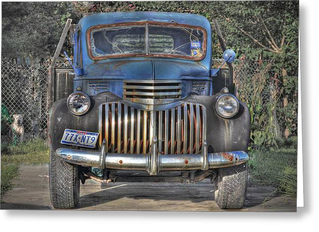 Greeting Card featuring the photograph Old Chevy Truck by Savannah Gibbs