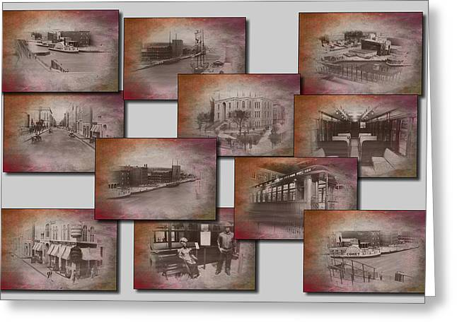 Old Chicago Collage Textured Greeting Card by Thomas Woolworth