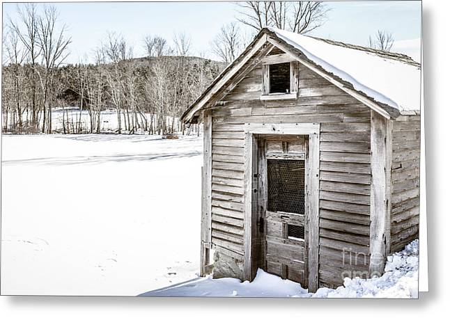 Old Chicken Coop In Winter Greeting Card by Edward Fielding