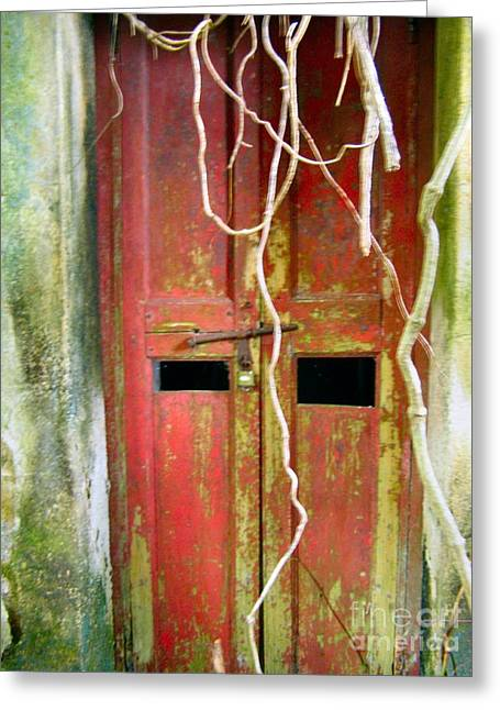 Old Chinese Village Door Eleven Greeting Card by Kathy Daxon