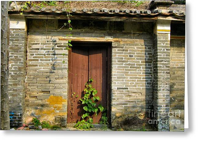 Old Chinese Village Door Series Sixteen Greeting Card by Kathy Daxon