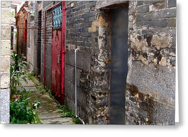 Old Chinese Village Narrow Walkway Greeting Card by Kathy Daxon