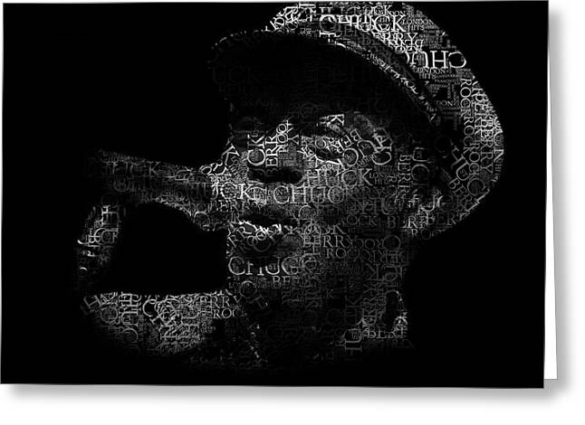 Old Chuck Berry Singing Text Portrait - Typographic Face Poster With The Name Of Chuck Berry Albums Greeting Card