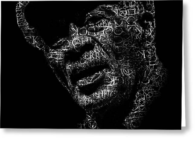Old Chuck Berry Text Portrait - Typographic Face Poster With The Name Of Chuck Berry Albums Greeting Card