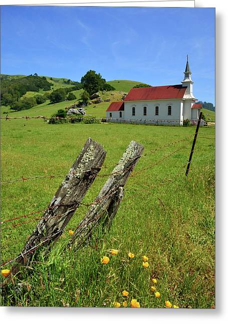 Old Church In Nicasio Greeting Card by Kathy Yates