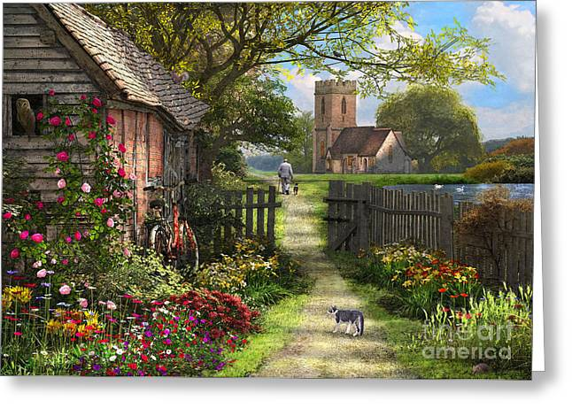 Old Church Path Greeting Card by Dominic Davison