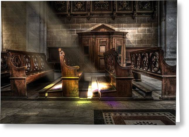 Old Church Pews Greeting Card by Cco