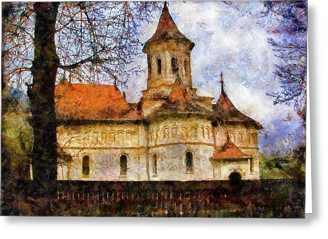 Old Church With Red Roof Greeting Card