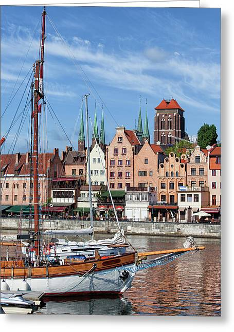 Old City Of Gdansk River View Greeting Card