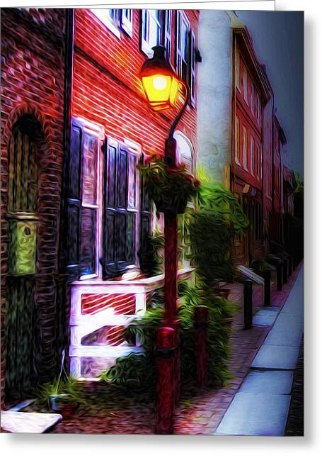 Streetlight Digital Art Greeting Cards - Old City Streets - Elfreths Alley Greeting Card by Bill Cannon