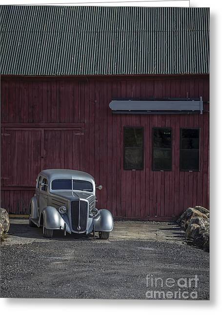 Old Classic Car At The Barn Greeting Card by Edward Fielding
