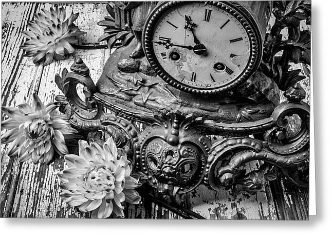 Old Clock And Dahlias Greeting Card