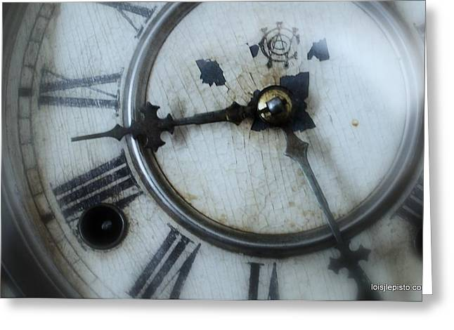 Old Clock Face Greeting Card by Lois Lepisto