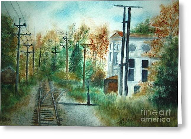 Old Cn Station Fort Langley Bc Greeting Card by Vivian  Mosley