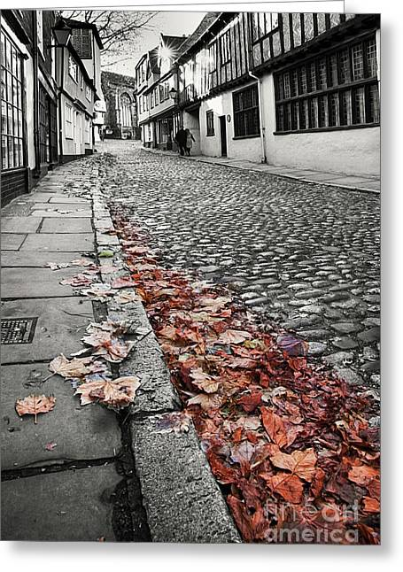 Old Cobbled Street Black And White Greeting Card by Simon Bratt Photography LRPS